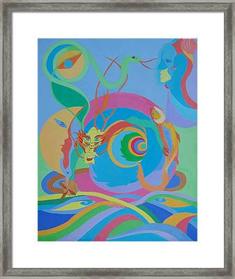 Moonbird In A Dragon Spiral Framed Print by Seema  Gill