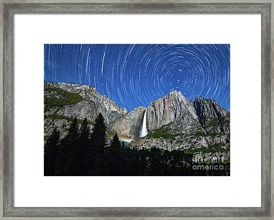 Moonbow And Startrails  Framed Print