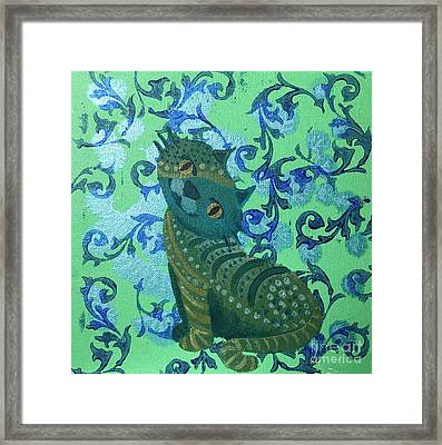 Mooncats No 1 Framed Print by Lene Pieters