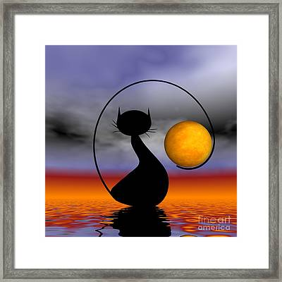 Mooncat's Waiting  Framed Print