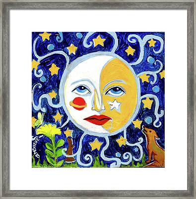 Framed Print featuring the painting Moonface With Wolf And Stars by Genevieve Esson