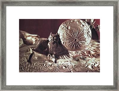 Moonhorse Detail Owl And Moon Framed Print by Dawn Senior-Trask