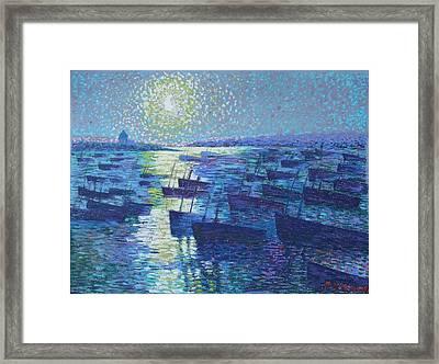 Moonlight And Fishing Boat Framed Print