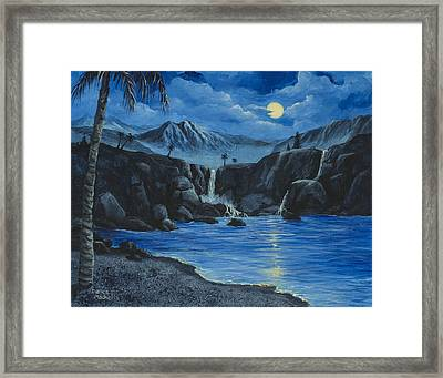 Framed Print featuring the painting Moonlight And Waterfalls by Darice Machel McGuire