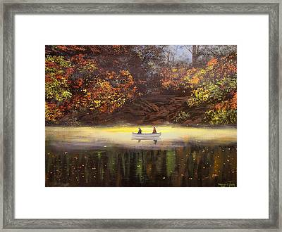 Moonlight Canoeing Framed Print by Connie Tom
