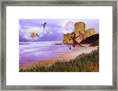 Framed Print featuring the photograph Moonlight Dragon Attack by Diane Schuster