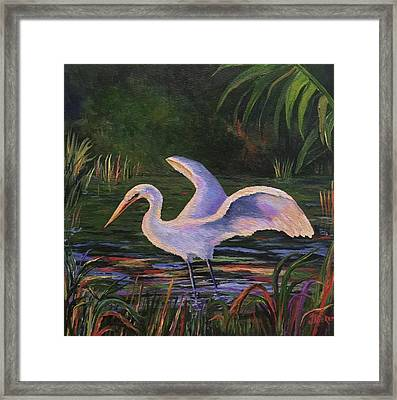 Moonlight Egret Framed Print