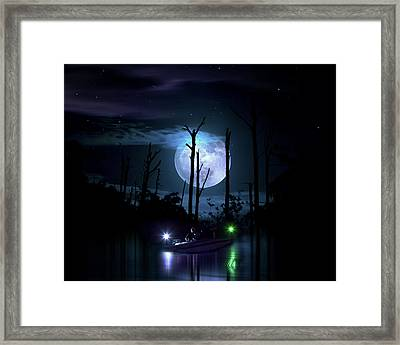 Moonlight Fisherman Framed Print