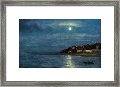 Moonlight. Hellebaek Framed Print by Carl Heinrich Bloch