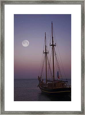 Moonlight In The Med Framed Print by Mark H Roberts