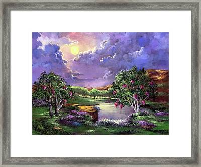 Moonlight In The Woods Framed Print by Randy Burns