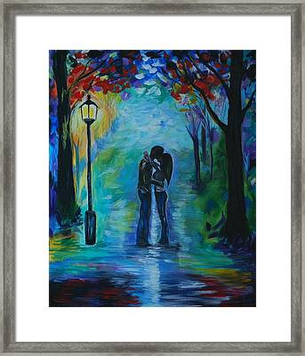 Framed Print featuring the painting Moonlight Kiss by Leslie Allen