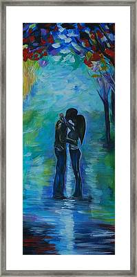 Framed Print featuring the painting Moonlight Kiss Series 1 by Leslie Allen