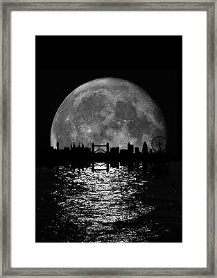 Moonlight London Skyline Framed Print by Mark Rogan