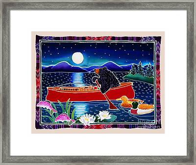Moonlight On A Red Canoe Framed Print