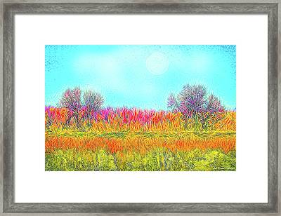 Framed Print featuring the digital art Moonlight On Golden Fields - Boulder County Colorado by Joel Bruce Wallach