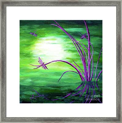 Moonlight On Green Water Framed Print by Laura Iverson