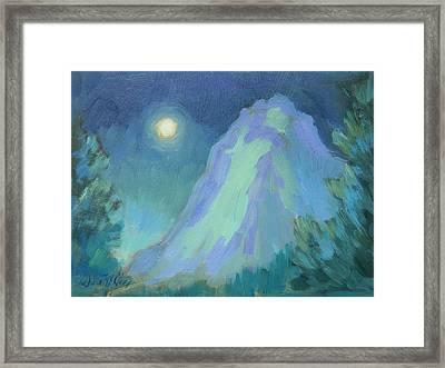 Moonlight On Lily Rock Framed Print