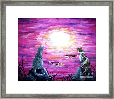 Moonlight On Pink Water Framed Print