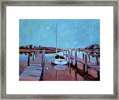 Moonlight On The Bay Framed Print by David Lloyd Glover