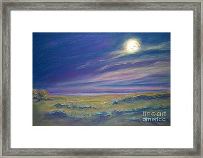 Moonlight On The Dunes Framed Print by Addie Hocynec