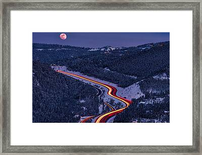 Moonlight On The Mountains Framed Print