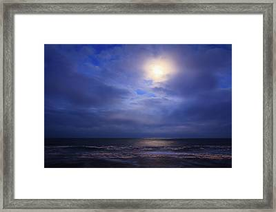 Moonlight On The Ocean At Hatteras Framed Print