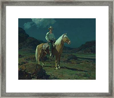 Moonlight On The Ranch Framed Print by MotionAge Designs