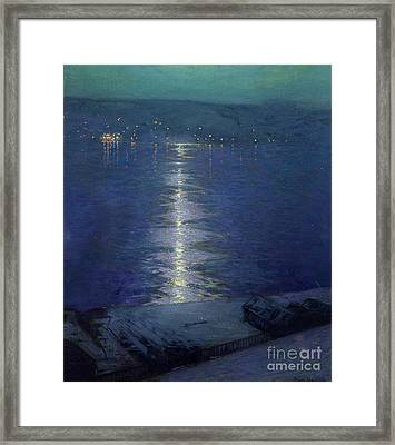 Moonlight On The River Framed Print by Lowell Birge Harrison