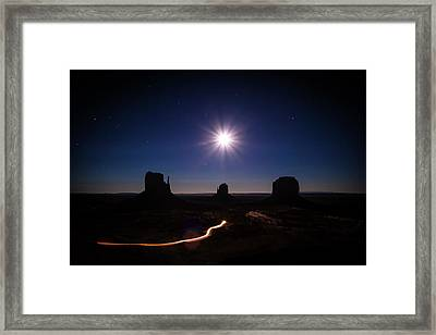 Moonlight Over Valley Framed Print