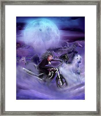 Moonlight Rider Framed Print by Carol Cavalaris