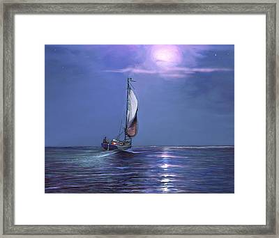 Moonlight Sailing Framed Print by David  Van Hulst