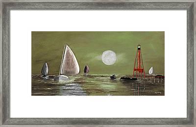 Moonlight Sailnata 2 Framed Print by Ken Figurski