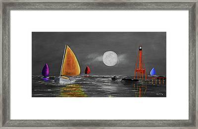 Moonlight Sailnata 3 Framed Print by Ken Figurski