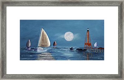 Moonlight Sailnata 4 Framed Print by Ken Figurski