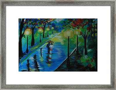 Framed Print featuring the painting Moonlight Stroll by Leslie Allen