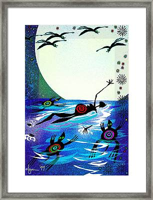 Moonlight Swim Framed Print