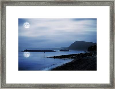 Moonlit Beach  Framed Print by Jaroslaw Grudzinski