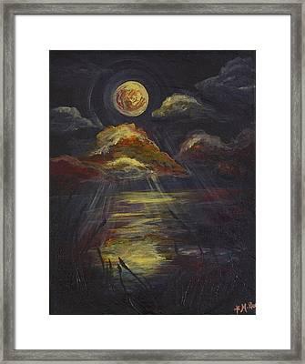 Moonlit Beach Guam Framed Print