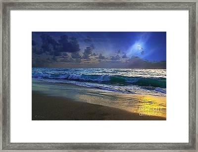 Moonlit Beach Seascape Treasure Coast Florida C4 Framed Print