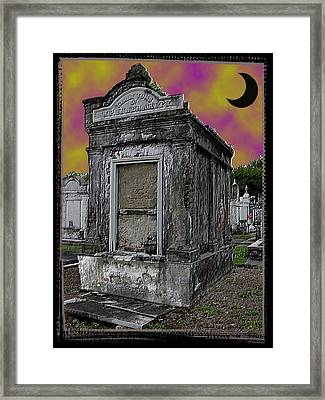 Moonlit Cemetary Framed Print by Linda Kish