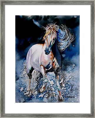 Moonlit Gallop Framed Print by Maria Barry