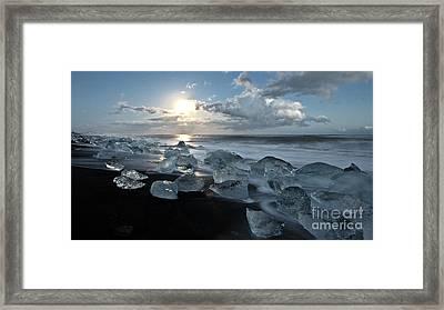 Moonlit Ice Beach Framed Print by Roddy Atkinson