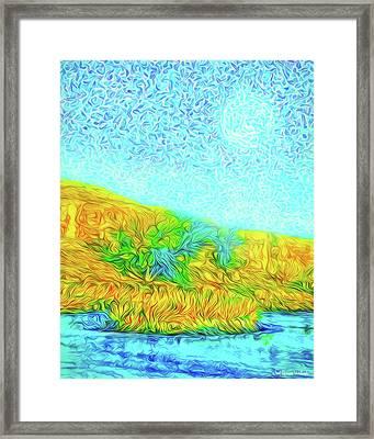 Framed Print featuring the digital art Moonlit Island Blue - Boulder County Colorado by Joel Bruce Wallach