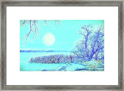 Framed Print featuring the digital art Moonlit Lake In Blue - Boulder County Colorado by Joel Bruce Wallach