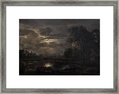 Moonlit Landscape With Bridge Framed Print by Aert Van Der Neer