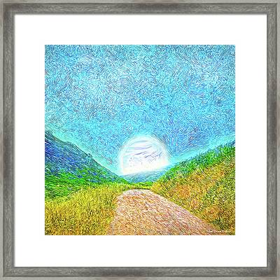 Framed Print featuring the digital art Moonlit Path - Marin California Trail by Joel Bruce Wallach