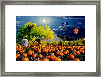 Moonlit Pumpkin Patch Framed Print by Ron Chambers