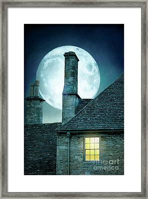 Framed Print featuring the photograph Moonlit Rooftops And Window Light  by Lee Avison