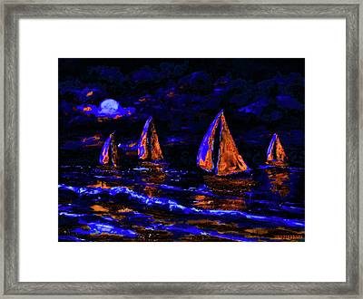Moonlit Sailing In Neon Framed Print
